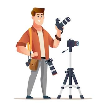 Karakter van professionele mannelijke fotograaf met camera met statief holding