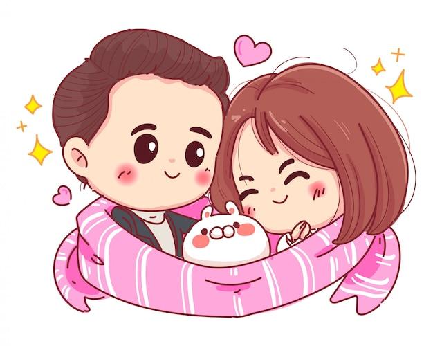 Karakter van romantische paar knuffel met gelukkige familie en valentijnsdag concept geïsoleerd op een witte achtergrond.
