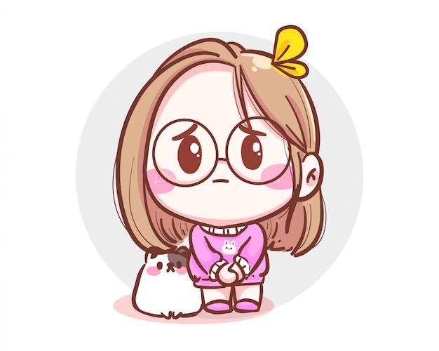 Karakter van schattig meisje en kleine kat die medelijden hebben en zich verontschuldigen op een witte achtergrond met fout of vergeving.