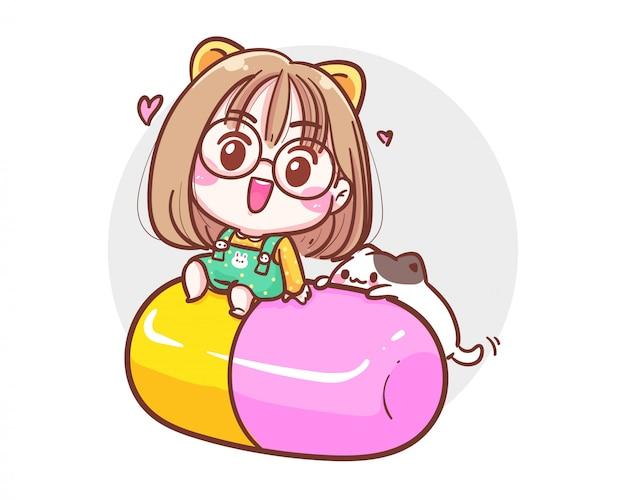 Karakter van schattig meisje en kleine kat zittend op capsule of pil op witte achtergrond met geneeskunde of apotheek concept.