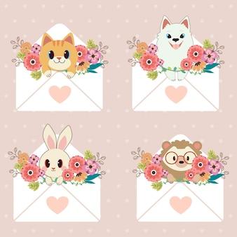 Karakter van schattige kat en hond en konijn en egel zitten in brief met hart sticker en bloem op paars