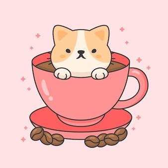 Karakter van schattige kat in een kopje koffie