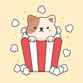 Karakter van schattige kat in een popcornemmer