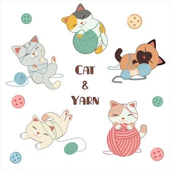 Karakter van schattige kat spelen een garen met knop