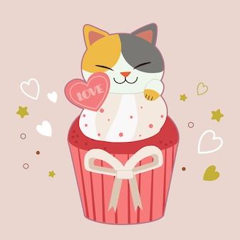 Karakter van schattige kat zitten in de cupcake op roze