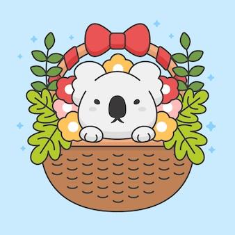 Karakter van schattige koala in een mand met bloemen en bladeren