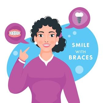 Karakter van tiener die haar tandensteunen tonen