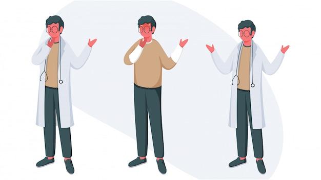 Karakter van twee arts mannen met een patiënt samen permanent op witte achtergrond.