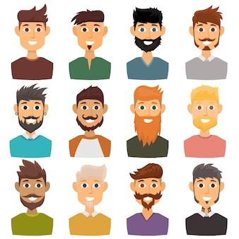 Karakter van verschillende uitdrukkingen bebaarde man gezicht avatar en mode hipster kapsel hoofdpersoon met snor vectorillustratie.