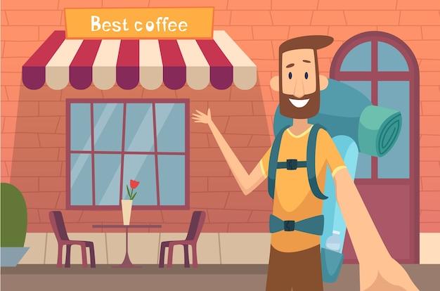 Karakter van videoblogger. jonge man onderwijs entertainment online onderwijs product review bloggen concept. illustratie blogger reizen, blog video karakter