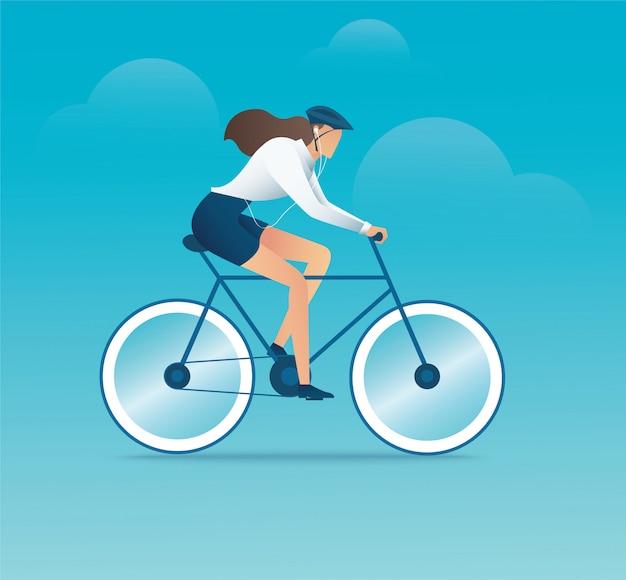 Karakter van vrouw op fiets of fiets
