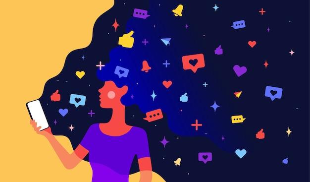 Karakter van vrouwenmeisje met de sociale netwerken van universumpictogrammen in haar