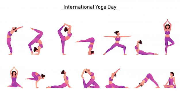 Karakter van vrouwenset in verschillende yogaposes