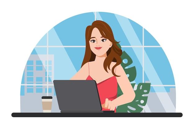 Karakter van zakenvrouw die met laptop werkt