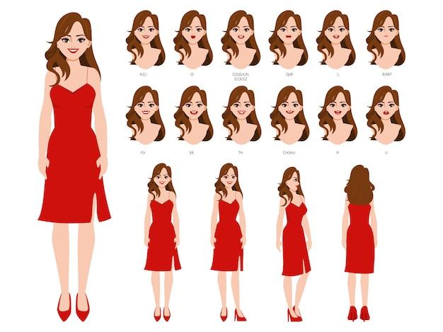 Karakter voor animatie met een reeks gezichten en poses