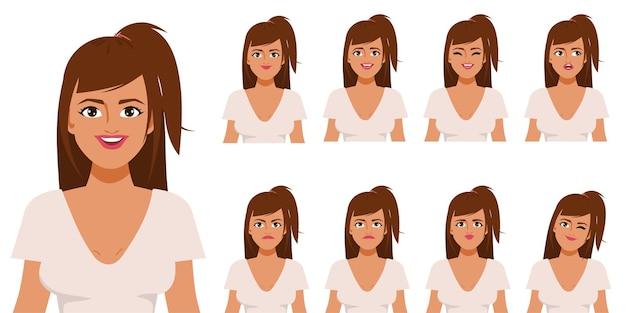 Karakter voor animatie mond en gezicht mooie vrouw