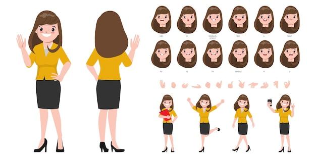 Karakter voor animatie mond en gezicht schattige zakenvrouw.
