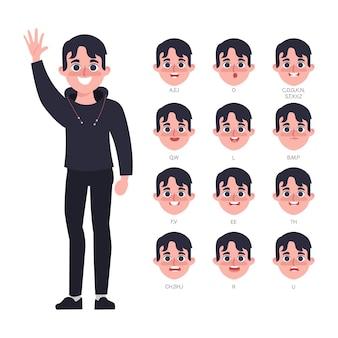 Karakter voor animatie mond van man in hood kleding
