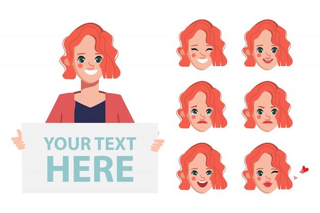 Karakter voor vrouw karakter geanimeerd met emoties gezicht.