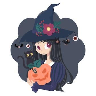 Karakter vrouw heks kostuum met pompoenen en zwarte kat