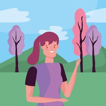 Karakter vrouw over landschap vectorontwerp