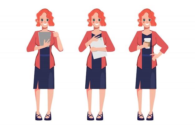 Karakter zakenvrouw pose set.