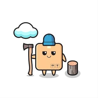 Karaktercartoon van kartonnen doos als houthakker, schattig stijlontwerp voor t-shirt, sticker, logo-element