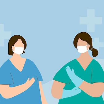 Karakterelement van het coronavirus medisch personeel