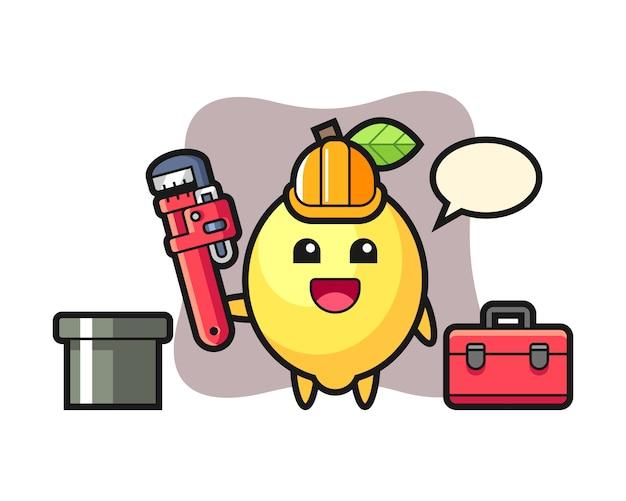 Karakterillustratie van citroen als loodgieter