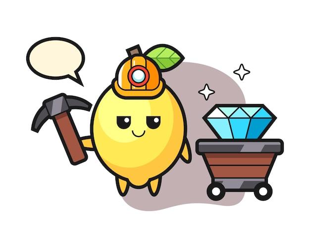Karakterillustratie van citroen als mijnwerker