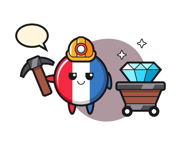 Karakterillustratie van de vlagkenteken van frankrijk als mijnwerker