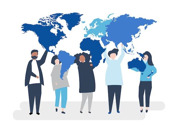 Karakterillustratie van diverse mensen en de wereld