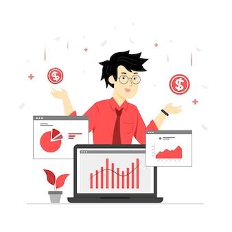 Karakterillustratie van een belegger