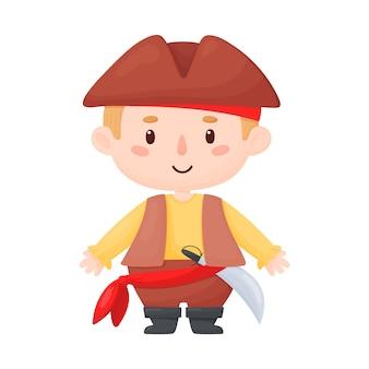 Karakterillustratie van een piraatjong geitje. jongen in een piraat kostuum