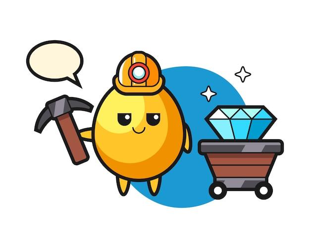 Karakterillustratie van gouden ei als mijnwerker, leuk stijlontwerp