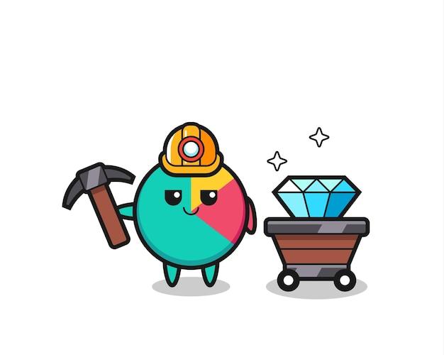 Karakterillustratie van grafiek als mijnwerker, schattig stijlontwerp voor t-shirt, sticker, logo-element