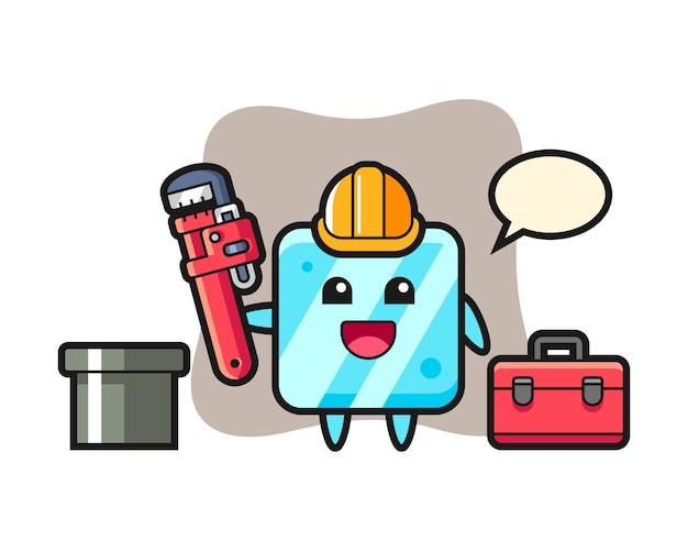 Karakterillustratie van ijsblokje als loodgieter