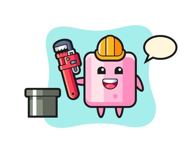 Karakterillustratie van marshmallow als loodgieter, schattig stijlontwerp voor t-shirt, sticker, logo-element