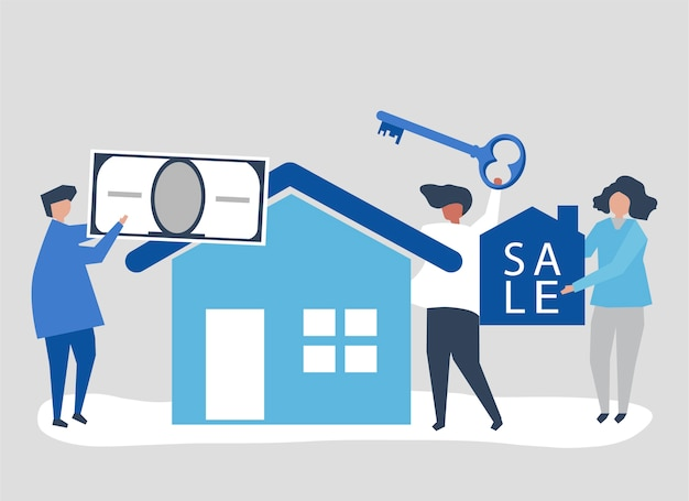 Karakterillustratie van mensen die huis verkopen