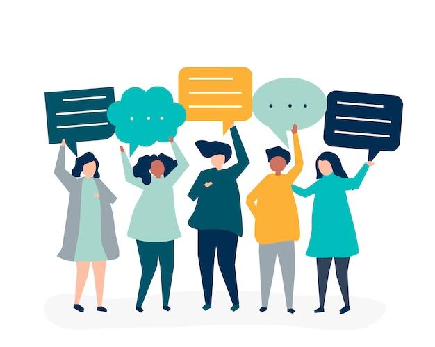 Karakterillustratie van mensen die toespraakbellen houden