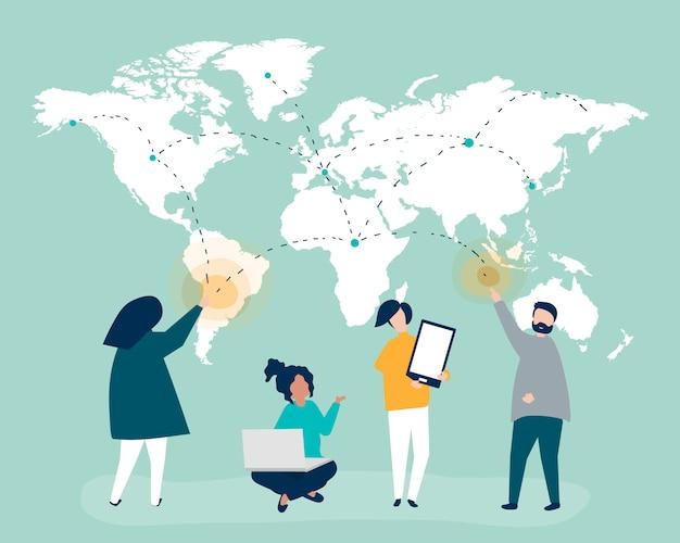 Karakterillustratie van mensen met mondiaal netwerkconcept