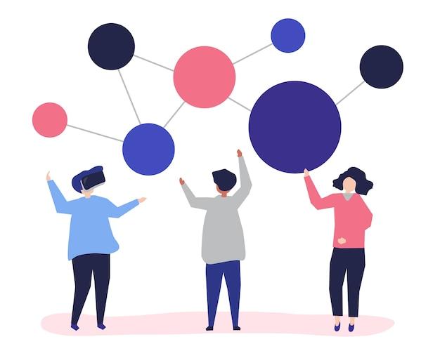 Karakterillustratie van mensen met voorzien van een netwerkpictogram