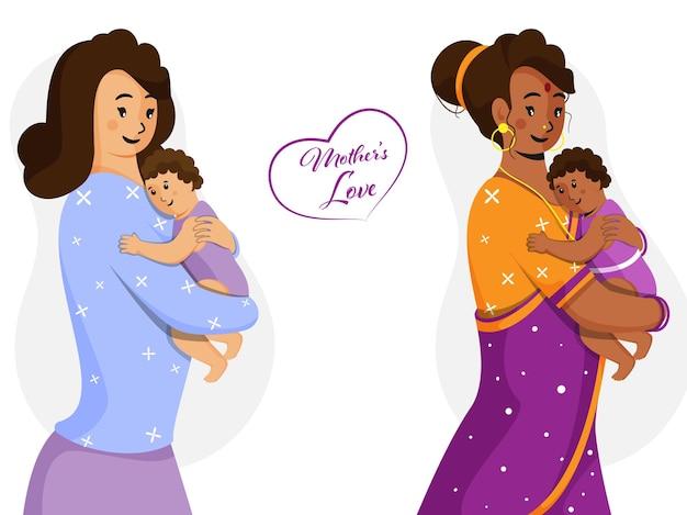 Karakterillustratie van moeders met hun baby's