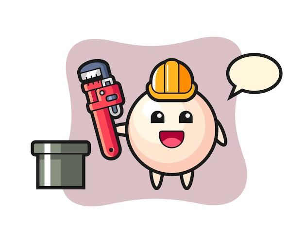 Karakterillustratie van parel als loodgieter
