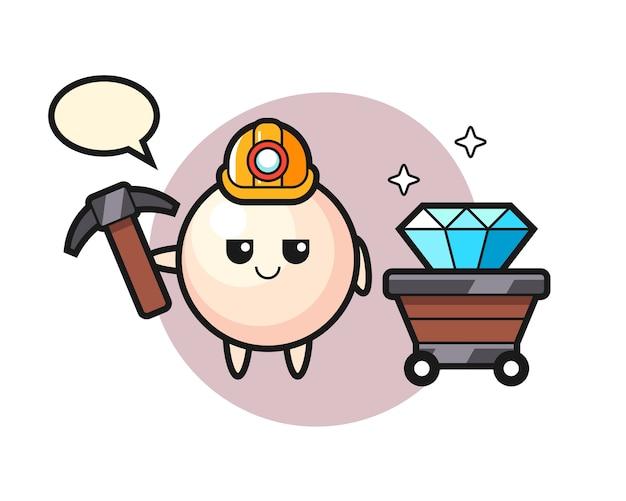 Karakterillustratie van parel als mijnwerker