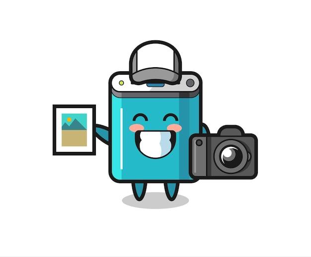 Karakterillustratie van powerbank als fotograaf, schattig stijlontwerp voor t-shirt, sticker, logo-element