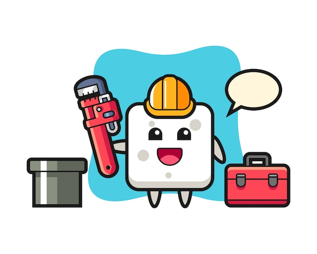 Karakterillustratie van suikerkubus als loodgieter, leuke stijl voor t-shirt, sticker, embleemelement