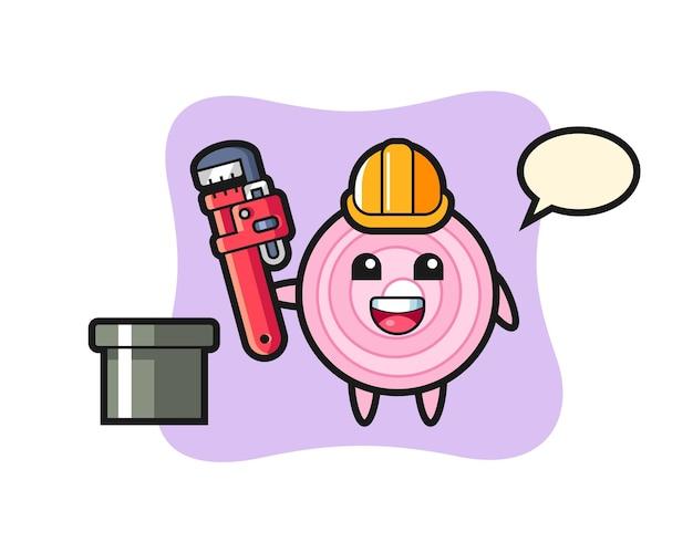 Karakterillustratie van uienringen als loodgieter, schattig stijlontwerp voor t-shirt, sticker, logo-element