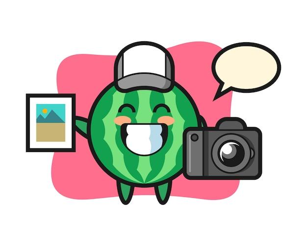 Karakterillustratie van watermeloen als fotograaf