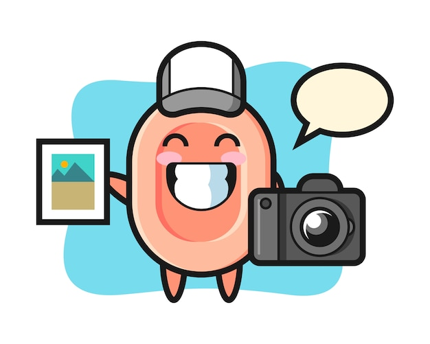 Karakterillustratie van zeep als fotograaf, leuke stijl voor t-shirt, sticker, embleemelement
